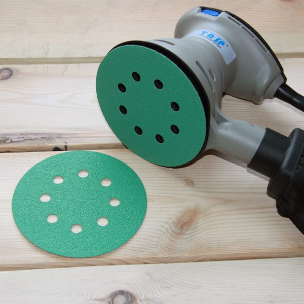 Green sanding round paper with 8 holes
